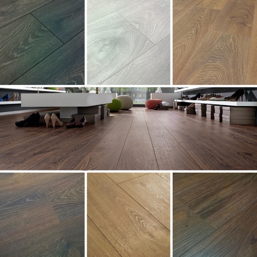 Chene 12mm Laminate Flooring Textured White Grey Walnut Oak Wood
